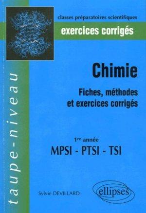 Chimie 1ère année MPSI PTSI TSI- ellipses - 9782729814786 -