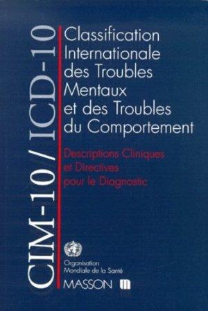 CIM-10/ICD-10. Classification internationale des troubles mentaux et des troubles du comportement - masson - 9782225840210 -