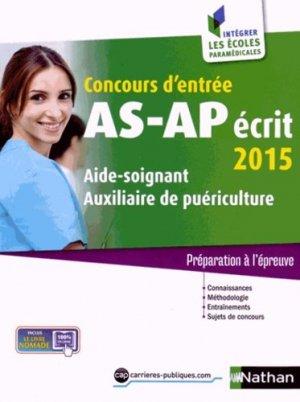 Concours AS-AP écrit 2015 - nathan - 9782091636986 -