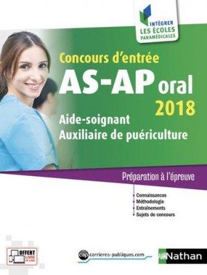 Concours d'entrée AS-AP Oral 2018 - nathan - 9782091649917 -