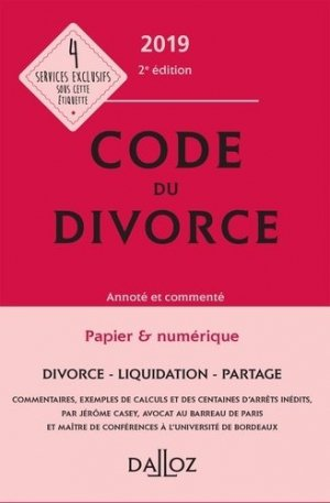 Code du divorce. Edition 2019 - dalloz - 9782247177158 -