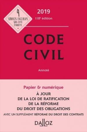 Code civil. Avec 1 supplément réforme du droit des contrats, Edition 2019 - dalloz - 9782247177363 -