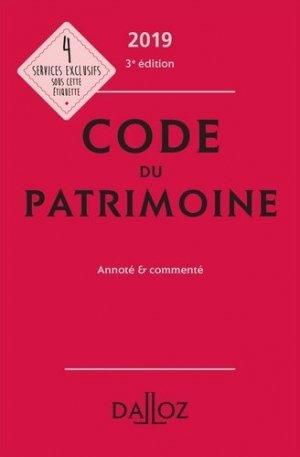 Code du patrimoine. Annoté et commenté, Edition 2019 - dalloz - 9782247186563 -