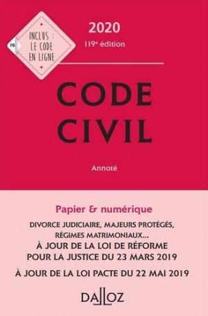 Code civil annoté. Edition 2020 - dalloz - 9782247186570 -