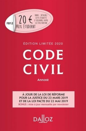 Code civil annoté 2020. Edition limitée - dalloz - 9782247186600 -