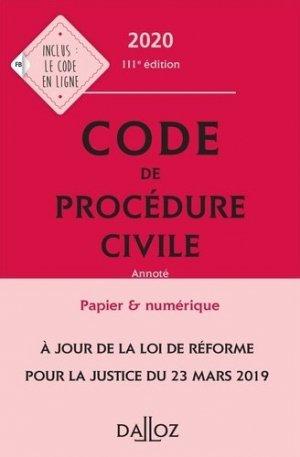 Code de procédure civile annoté. Edition 2020 - dalloz - 9782247186624 -