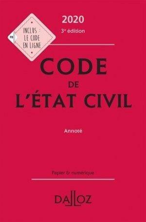 Code de l'état civil annoté. Edition 2020 - dalloz - 9782247186860 -