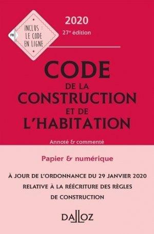 Code de la construction et de l'habitation 2020, annoté et commenté - dalloz - 9782247192151 -