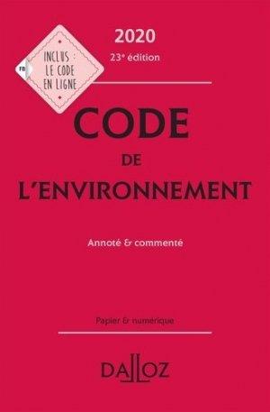 Code de l'environnement 2020, annoté et commenté - dalloz - 9782247193622 -