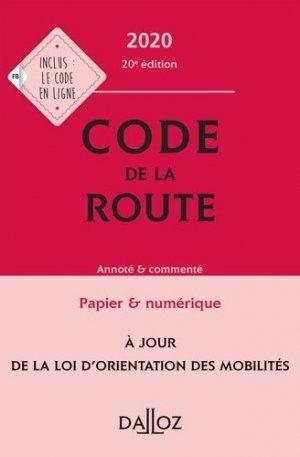 Code de la route 2020, annoté et commenté - dalloz - 9782247196401 -
