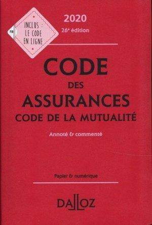 Code des assurances, code de la mutualité. Annoté et commenté, Edition 2020 - dalloz - 9782247196456 -