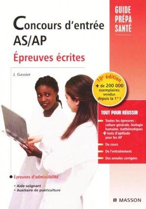 Concours d'entrée AS / AP - elsevier / masson - 9782294706172