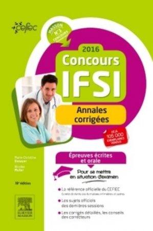 Concours IFSI 2016 - Annales corrigées - elsevier / masson - 9782294744679 -