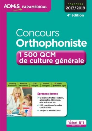 Concours orthophoniste - vuibert - 9782311201819 -