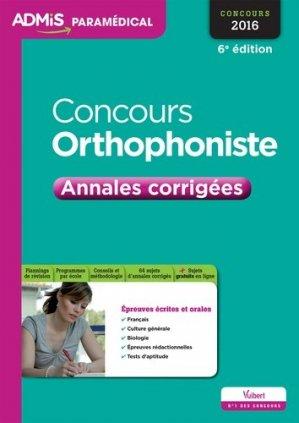 Concours orthophoniste 2016 - vuibert - 9782311201956 -
