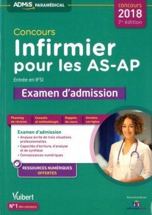 Concours Infirmier pour les AS-AP - Entrée en IFSI - Examen d'admission - Entraînement - vuibert - 9782311204049 -