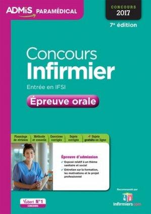 Concours Infirmier - Épreuve orale 2016 - vuibert - 9782311204124 -
