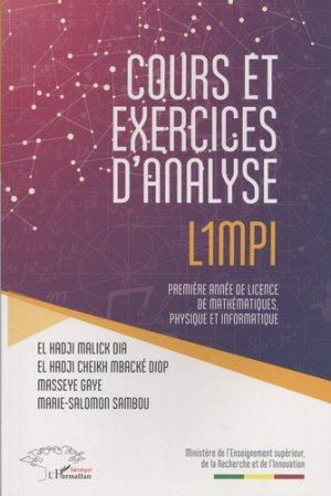 Cours et exercices d'analyse L1MPI - l'harmattan - 9782343148298 -