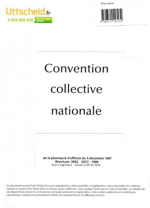 Convention collective nationale Pharmacie 2016 + Grille de Salaire-uttscheid-9782371553132