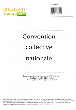 Convention collective nationale Architecte 2016 + Grille de Salaire-uttscheid-9782371553514