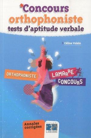Concours orthophoniste  -  tests d'aptitude verbale - lamarre - 9782757303658 -