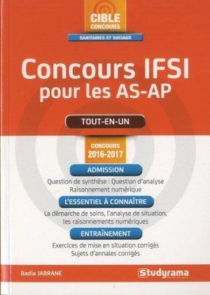 Concours IFSI pour les AS-AP -  Concours 2016-2017 - studyrama - 9782759032273