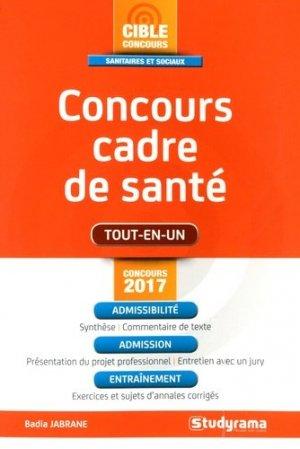 Concours cadre de santé 2017 - studyrama - 9782759033560 -