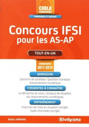 Concours IFSI pour les AS-AP -  Concours 2017-2018 - studyrama - 9782759034802