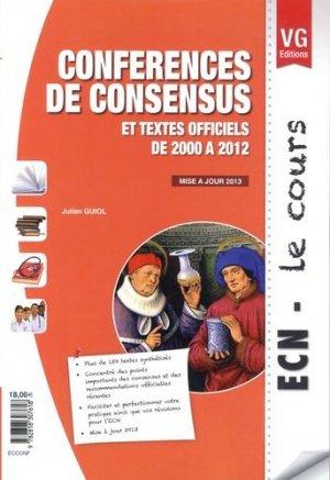 Conférences de consensus et textes officiels de 2000 à 2012 - vernazobres grego - 9782818307618 -