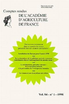 Comptes rendus de l'Académie d'Agriculture de France - lavoisier - 9782841072361
