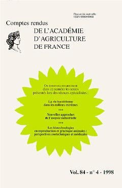 Comptes rendus de l'Académie d'Agriculture de France - LAVOISIER / TEC ET DOC - 9782841072958 -