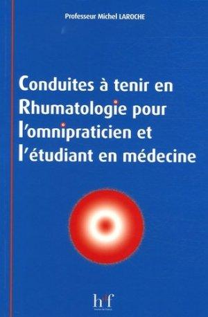 Conduites à tenir en rhumatologie pour l'omnipraticien et l'étudiant en médecine - heures de france - 9782853852784 -