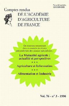 Comptes rendus de l'Académie d'Agriculture de France - LAVOISIER / TEC ET DOC - 9782877772648 -