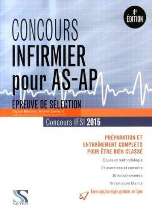 Concours d'entrée IFSI - Épreuve de sélection AS/AP  2015 - setes - 9791091515269 -
