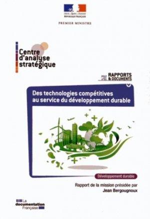 Des technologies compétitives au service du développement durable - La Documentation Française - 9782110091789 -