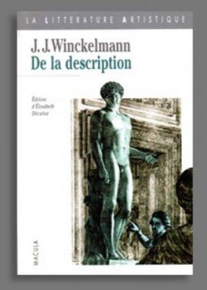 De la description - Editions Macula - 9782865890675 -