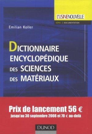 Dictionnaire encyclopédique des sciences des matériaux - Dunod - 9782100512164 -