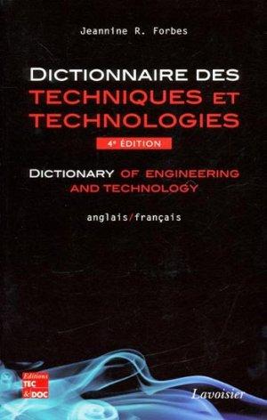Dictionnaire des techniques et technologies - lavoisier / tec et doc - 9782743013752 -