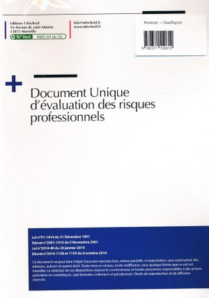 Document unique Métier : Plombier - Chauffagiste - Version 2016 - uttscheid - 9782371550612 -