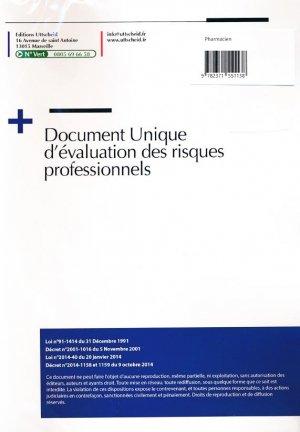 Document unique Métier : Pharmacien - Pharmacie - Version 2016 - uttscheid - 9782371551138 -