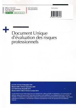 Document unique métier : Horticulteur - Version 2016 - uttscheid - 9782371553798 -
