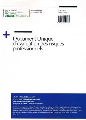 Document unique métier : Dentiste - Cabinet Dentaire - Version 2016 - uttscheid - 9782371554795 -