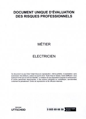 Document unique Métier : Electricien version 2017 - uttscheid - 9791034103997 -
