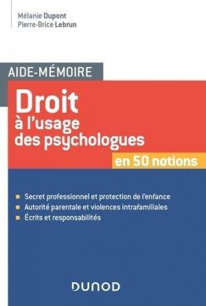 Droit à l'usage des psychologues - dunod - 9782100776214 -