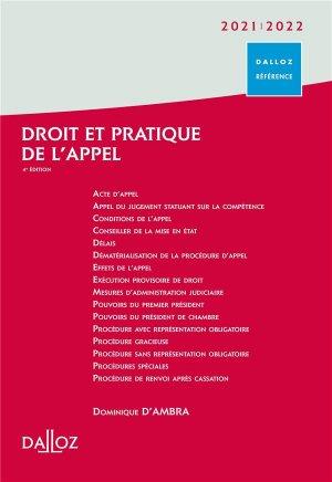 Droit et pratique de l'appel 2021/2022 - 4e ed. - dalloz - 9782247185702 -