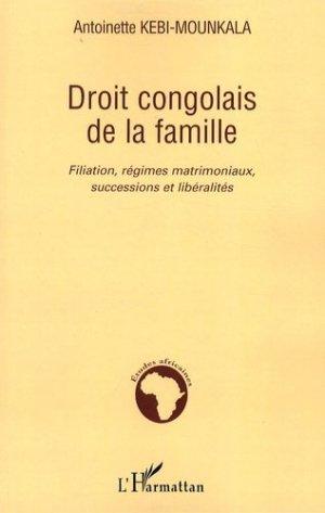 Droit congolais de la famille. Filiation, régimes matrimoniaux, successions et libéralités - l'harmattan - 9782296040915 -
