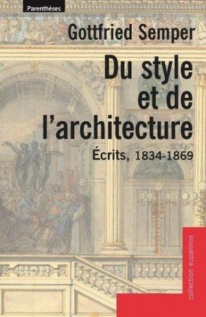 Du style et de l'architecture - parentheses - 9782863646458 -