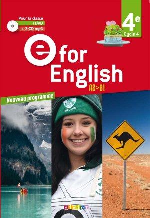 E for English 4e (éd. 2017) : Coffret Classe 2 CD Audio + 1 DVD - Didier - 9782278088263 -