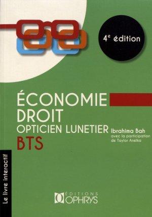 Economie - Droit BTS opticien lunetier - ophrys - 9782708015135