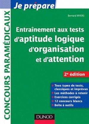 Entrainement aux tests d'aptitude logique, d'organisation et d'attention - dunod - 9782100563760 -